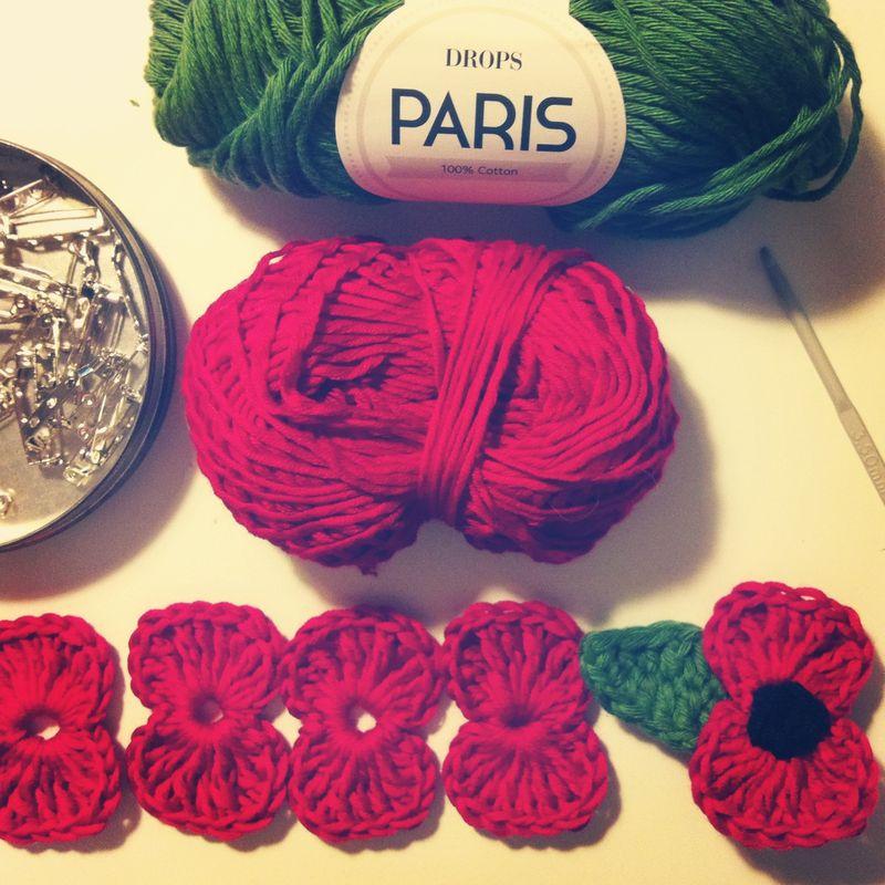 Assembly line of crochet flowers